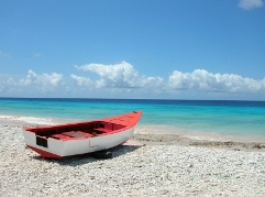boat at beach of Bonaire